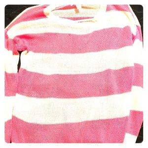 Pink with white striped cardigan/ long sleeve